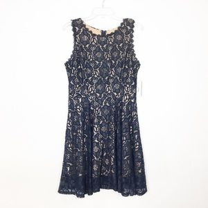 NWT Navy Lace Fit and Flare Dress